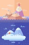 Wald und Wintersonne Rote Hintergrundnahaufnahme Flache Illustrationen ENV 10 des Vektors Stockfotografie
