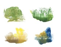 Wald in verschiedene Jahreszeiten, Abstraktionszeichnungsfarbe vektor abbildung