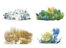 Wald in verschiedene Jahreszeiten, Abstraktionszeichnungsfarbe lizenzfreie abbildung