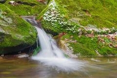 Waldbachwasserfall zwischen moosigen Felsen stockfotos