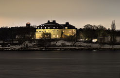 Waldemarsudde museum at night on a cape of Djurgården outside Stockholm Stock Image