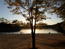 Walden Pond and Walden Pond State Reservation, Concord, Massachusetts, USA. Walden Pond, a lake in Concord, Massachusetts, in the United States and Walden Pond royalty free stock photo
