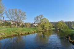 Waldenburg Saxony spring river mulde architecture. Tourism blue sky Royalty Free Stock Photography