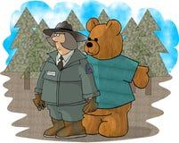 Waldförster und ein Bär lizenzfreie abbildung