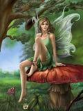 Waldfeenhaftes Stillstehen auf einem Pilz stockfotos