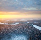 Waldfläche mit schönem Sonnenuntergang im Winter Lizenzfreies Stockbild