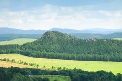 Waldhügel mit Sandsteintürmen in Adrspach Stockfoto