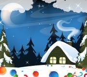 Waldhütte und Weihnachtsdekorationen Lizenzfreie Stockfotos