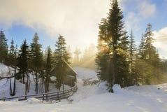 Waldhuhn-Gebirgsbärn-Höhle bei nebelhaftem Sonnenuntergang Lizenzfreies Stockfoto