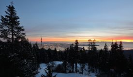 Waldhuhn-Gebirgswinter-Sonnenuntergang Stockbild
