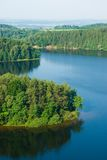 Waldinsel auf See Stockbild
