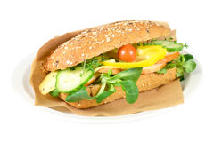 Waldkorn sandwich with smoked chicken. Stock Photo