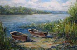 Waldlandschaft, mit Booten und Fluss Lizenzfreies Stockfoto