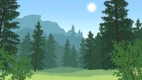Waldlandschaftsillustration Lizenzfreies Stockfoto