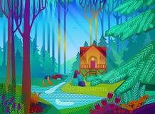 Waldlichtung mit Haus morgens Stockfotos