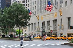 Waldorf-Astoria. NEW YORK, USA - JULY 4, 2013: People visit The Waldorf-Astoria hotel in New York. Waldorf Astoria is part of Hilton Worldwide, the group that Royalty Free Stock Photo