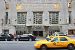 Waldorf-Astoria, New York. NEW YORK, USA - JULY 4, 2013: People visit The Waldorf-Astoria hotel in New York. Waldorf Astoria is part of Hilton Worldwide, the Royalty Free Stock Image