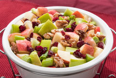 Waldorf salad. Made with cranberries, gala apples, granny smith apples, walnuts, spring onion in a walnut oil based sauce Royalty Free Stock Images