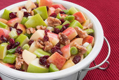 Waldorf Salad. Made with granny smith apples, gala apples, walnuts, cranberries, spring onions, and celery in a healthy vinaigrette base Royalty Free Stock Photos