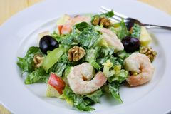 Waldorf Salad with Shrimp and Walnuts royalty free stock images