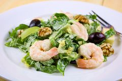 Waldorf Salad Topped with Shrimp royalty free stock photos
