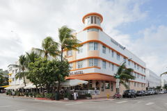The Waldorf Towers Hotel South Beach. MIAMI - JANUARY 12: The Waldorf Towers Hotel, located at 860 Ocean Drive, is an iconic art deco hotel built in 1937 January royalty free stock images