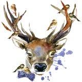 Waldrotwild und -vögel T-Shirt Grafiken Rotwildillustration mit strukturiertem Hintergrund des Spritzenaquarells stock abbildung