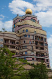 Waldspirale Apartment Building. This unique structure is located in Darmstadt, Germany. It contains 105 apartments with over 1000 windows, none of which are the Royalty Free Stock Photo