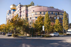 Waldspirale Hundertwasserhaus Darmstadt. Darmstadt, Germany - September 27, 2015: The apartment building Waldspirale or Hunderwasser House in Darmstadt, designed Stock Photos