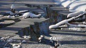 Waldstromflüsse in den Winter gestalten Waldnaturschnee landschaftlich, stock video