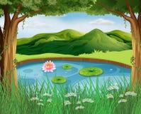 Waldszene mit Teich und Bergen vektor abbildung