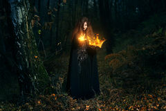 Waldwächtercasting-Feuermagie stockfotografie