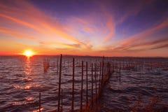 Walencja, Albufera, morze, zmierzch, piękny, niebo fotografia stock