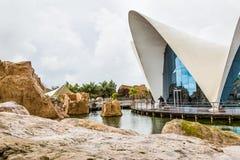 Walencja Hiszpania, Grudzień, - 04, 2016: Główny budynek Oceanograficzny Obrazy Royalty Free