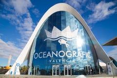 Walencja, Hiszpania, Styczeń, 01, 2018: Wejście Sławny Oceanograficzny budynku kompleks, Duży oceanu park tematyczny wewnątrz Obrazy Royalty Free