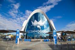 Walencja, Hiszpania, Styczeń, 01, 2018: Wejście Sławny Oceanograficzny budynku kompleks, Duży oceanu park tematyczny wewnątrz Zdjęcia Royalty Free
