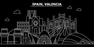 Walencja sylwetki linia horyzontu Hiszpania, Walencja wektorowy miasto -, hiszpańska liniowa architektura, budynki Walencja podró ilustracja wektor