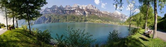 walensee湖瑞士高定义全景 免版税库存图片