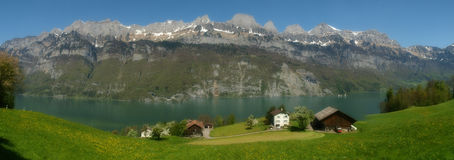 WALENSEE ,SWITZERLAND,PANORAMIC VIEW Royalty Free Stock Photos