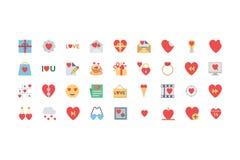 Walentynek Barwione ikony 3 ilustracji