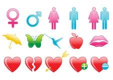 Walentynek ikony Zdjęcia Royalty Free