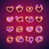 Walentynek Neonowi serca ilustracji
