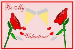 Walentynek róże z szampanem - miłość Fotografia Stock