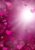 Walentynek serc Bokeh błyskotania tło ilustracji