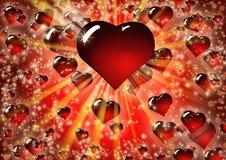 Walentynek serc czerwony tło Zdjęcia Royalty Free
