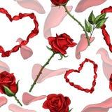 Walentynek serc wektorowego bezszwowego deseniowego tła powtórkowa tekstylna farba ilustracja wektor