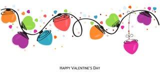 Walentynek serc wektoru kolorowy kartka z pozdrowieniami Zdjęcia Stock