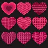 Walentynek serca ustawiający Zdjęcie Stock
