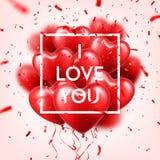 Walentynka dnia abstrakcjonistyczny tło z czerwienią 3d szybko się zwiększać i confetti serce odizolowane kształtu white pomidoro ilustracji
