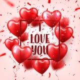 Walentynka dnia abstrakcjonistyczny tło z czerwienią 3d szybko się zwiększać i confetti serce odizolowane kształtu white pomidoro ilustracja wektor